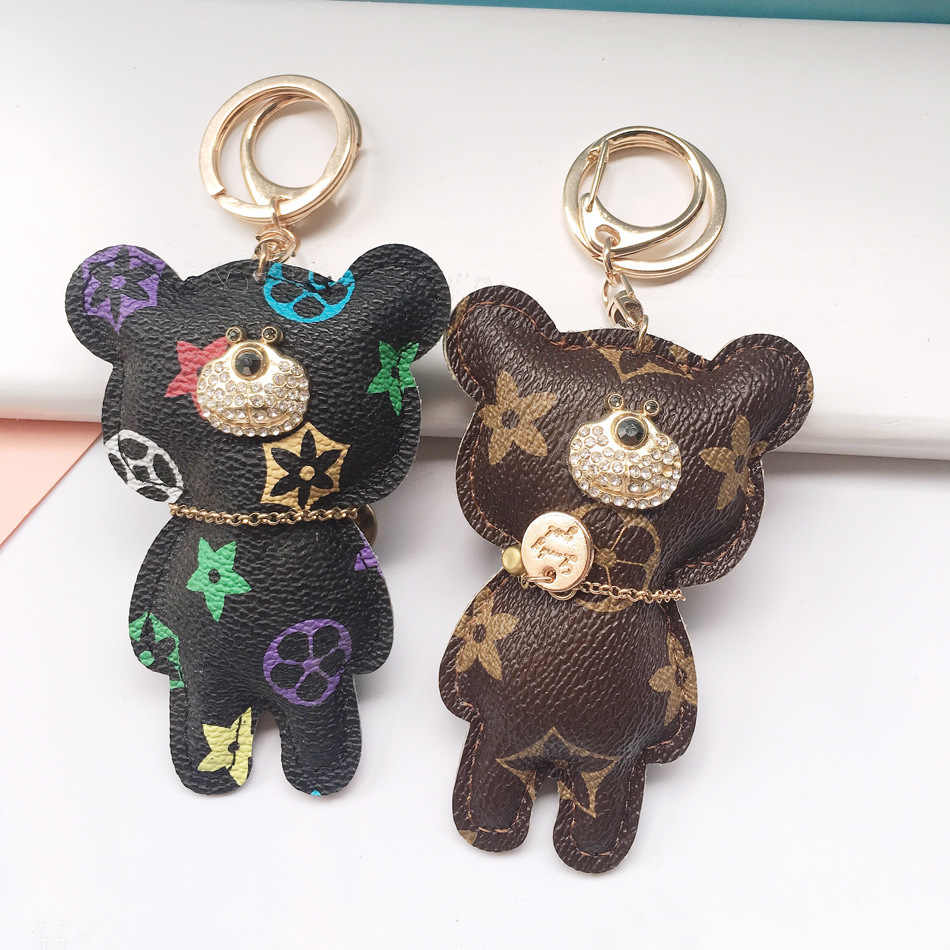 2020 New Cute Fashion imitation leather bear Keychain bear Key chain for women backpack embellishment Keyring Bear Gift