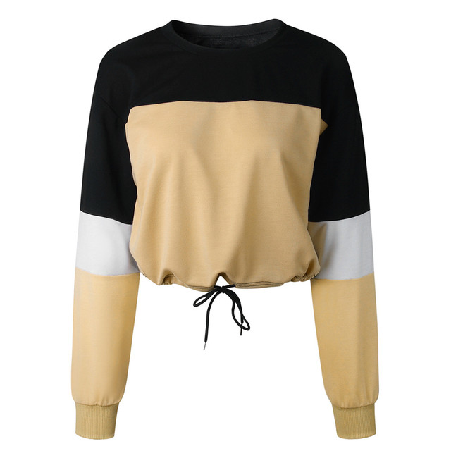 Jaycosin Fashion Womens Long Sleeve Splcing Color Sweatshirt Casual Cool Chic New Look Comfortable Pullover Tops Blouse 6