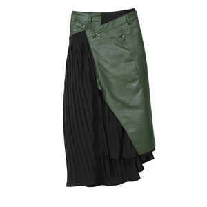 Image 5 - חדש 2020 קוריאני סגנון חורף אישה מזדמן ארוך קפלים חצאית גבוהה מותן עור מפוצל ירוק שחור טלאים גבירותיי המפלגה חצאית 5695