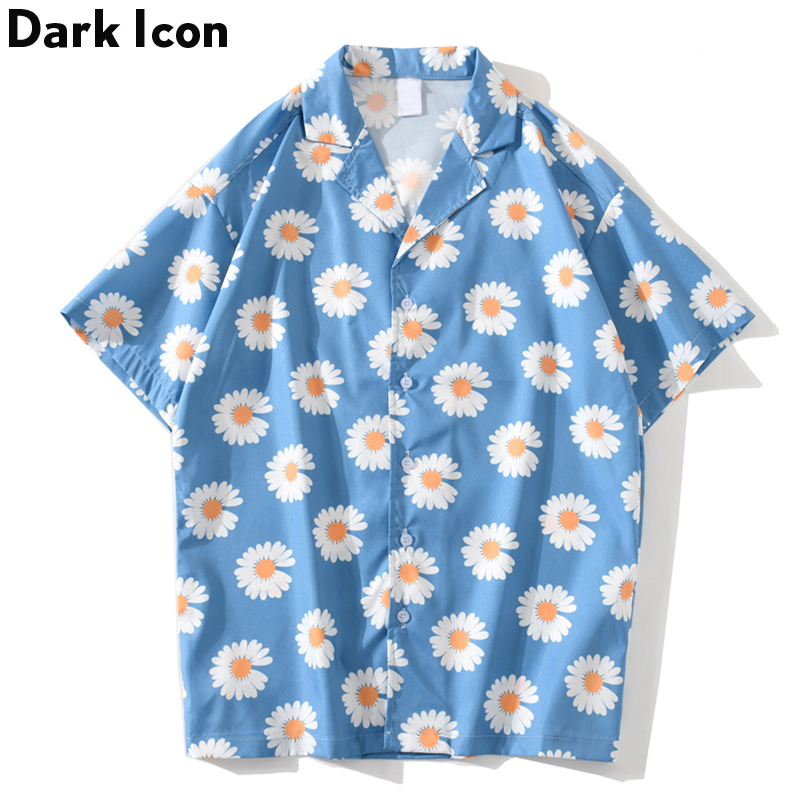 DARK ICON Daisy Shirt Men Fashion Hip Hop Shirt 2020 Summer Hawaii Style Men's Shirts Short Sleeved