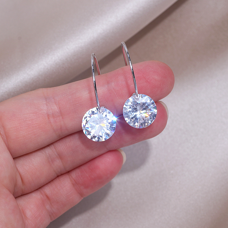Classic Design Clear Cubic Zirconia Earrings for Women Shining Female Big Round Crystal Hoop Earrings Wedding Jewelry Gifts