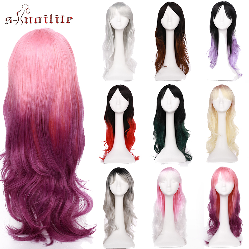 S-noilite Synthetic Wigs Ombre Red Pink Purple Green Wig Long Wavy Hair Wigs Cosplay Wig Heat Resistant Hair For Women Fake Hair