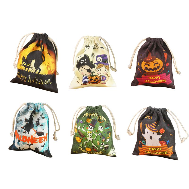 6 Style Cute Witches Candy Bag Funny Halloween Gift Bags Holiday Supplies Creative Trick or Treat Bag Goodie Storage For Kids