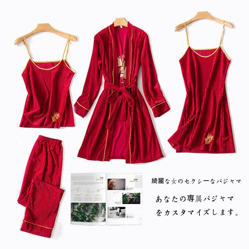 Daeyard Striped Velvet Pajama Sets For Women Autumn Winter Warm Pijamas Sexy Cami Robe 4pcs Sleepwear Golden Embroidery Pyjamas