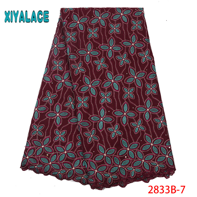 African Fabric  Fabric Cotton Cloth Nigerian High Quality DIY Textile Sewing Patchwork French Bridal For Bags Dress YA2833B-7