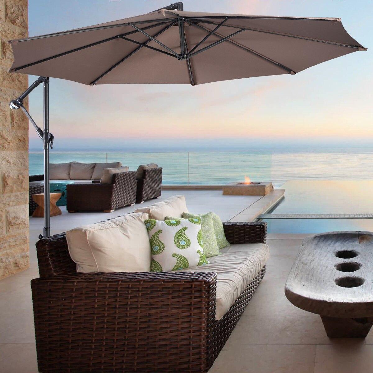 Costway 10' Hanging Umbrella Patio Sun Shade Offset Outdoor Market W/t Cross Base (Tan)|  - title=