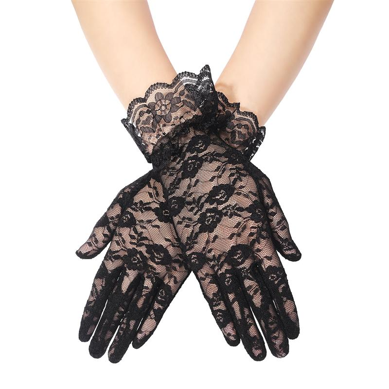 Black Wedding Gloves Full Finger Driving Gloves Short Black Lace Gloves For Outdoor Women Bride Wedding Accessories