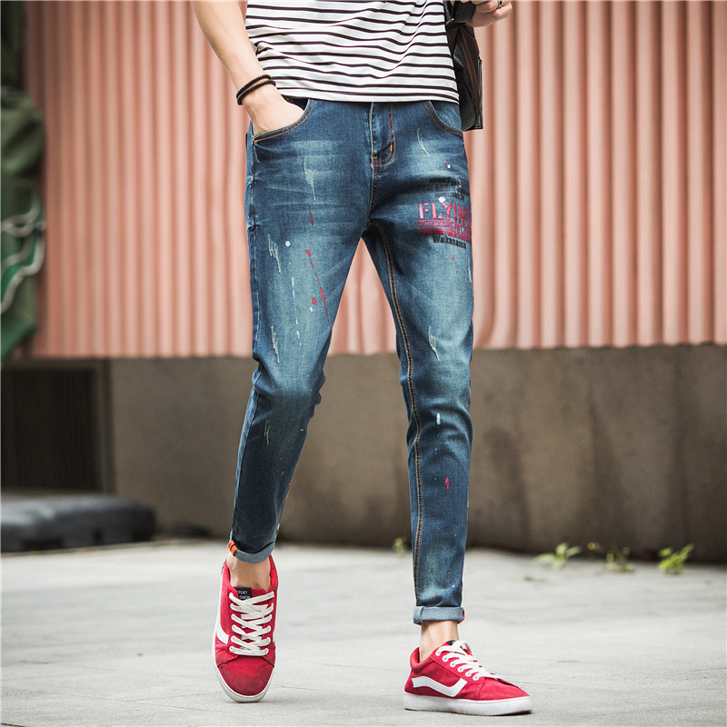 Autumn New Style Jeans Men Korean-style Elasticity Skinny Pants Men's Wear Teenager Slim Fit Japanese-style