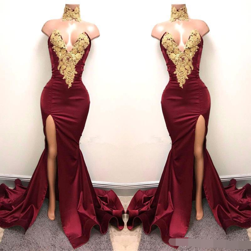 New Sexy Burgundy Prom Dresses With Gold Lace Appliqued Mermaid Front Split For 2019 Long Robe De Soiree Evening Wear Gown
