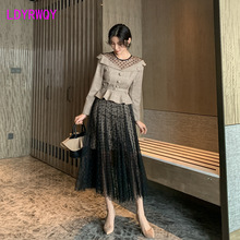 2019 autumn temperament ladies fashion retro wave dot mesh stitching square check small suit