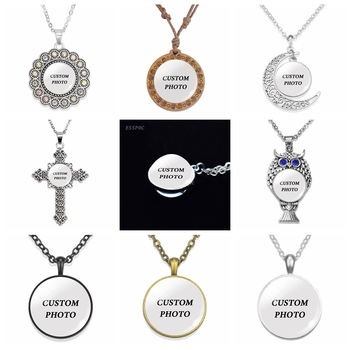 Personalized Custom Photo Statement Necklace DIY Logo Pendant Glass Cabochon Jewelry Making Baby Lover Birthday Women Gifts new arrive sliver chain necklace michael jackson glass pendant statement cabochon necklace men women jewelry gifts