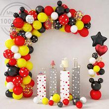 1set Red Yellow Black Mickey Balloon Garland Arch Kit Polka Dot Latex Globos Baby Shower Wedding Birthday Party Decorations Ball