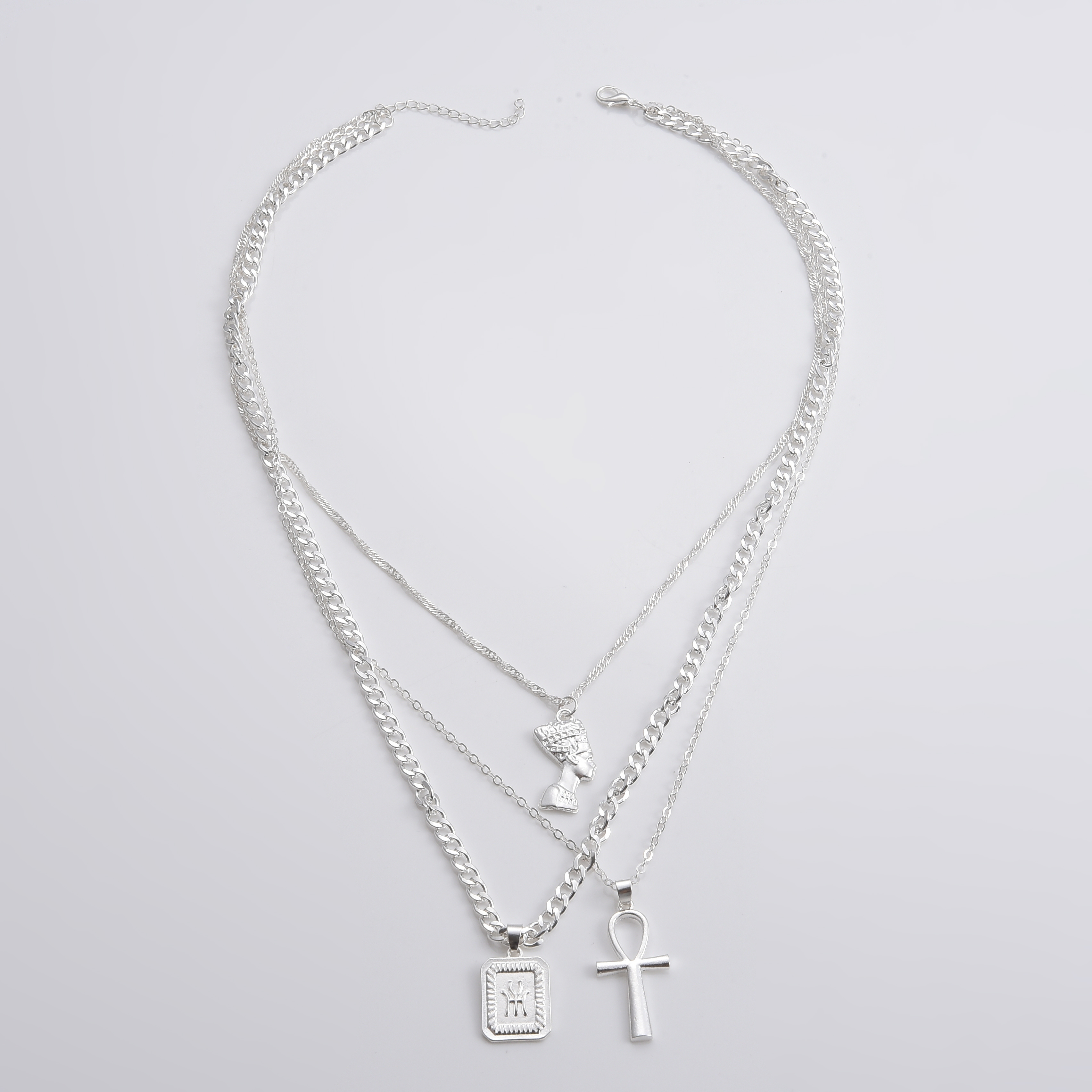 Bohemian Female Necklace Alloy Cross Human head letter Gold Necklace Set Women Fashion Valentines Day Gift Jewelry