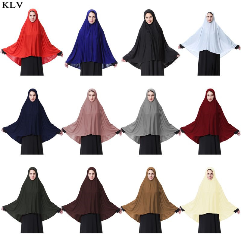 Women Extra Long Milk Fiber Muslim Arab Hijab Elegant Solid Color Islamic Prayer Lightweight Head   Scarf     Wrap   Shawl