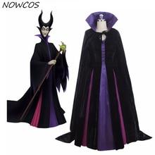 Взрослый роскошный фиолетовый костюм малефисенты злая королева косплей наряд дамское нарядное платье Женский костюм для Хэллоуина