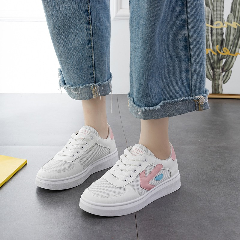 2019 Spring Women Flats Shoes Platform Sneakers Lace Up Flat Leather Pu Leather Ladies Loafers Casual Shoes Women C0060 in Women 39 s Vulcanize Shoes from Shoes