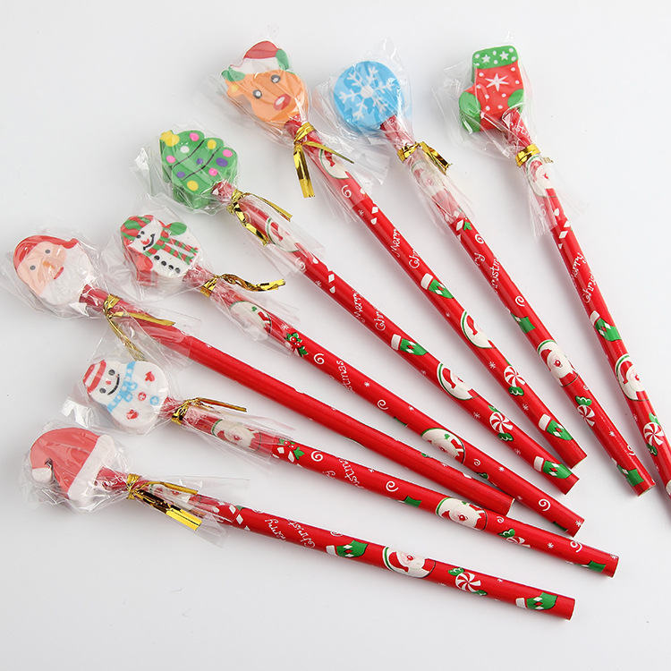New Arrival Cute 5pcs/lot Kawaii Christmas HB Wood Pencil With Detachable Eraser Kids Gift Pens School Stationery