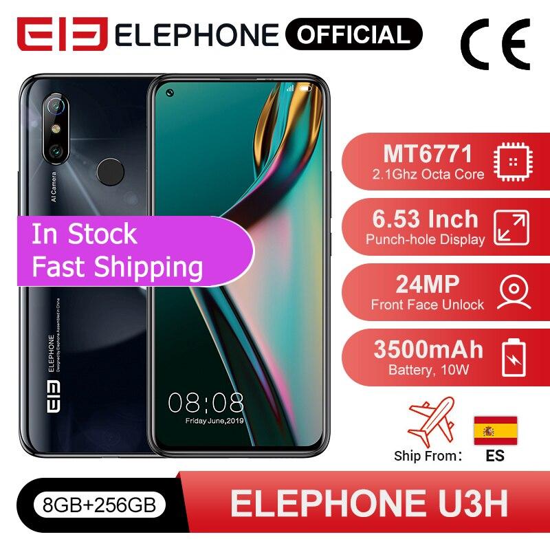 En existencia teléfono inteligente ELEPHONE U3H 8GB 256GB Octa Core Helio P70 6,53