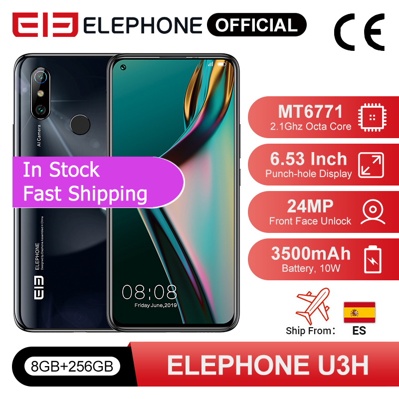 "In Stock ELEPHONE U3H Smartphone 8GB 256GB Octa Core Helio P70 6.53"" FHD+ 24MP Selfie 48MP Dual Camera Android 9 Mobile Phone(China)"