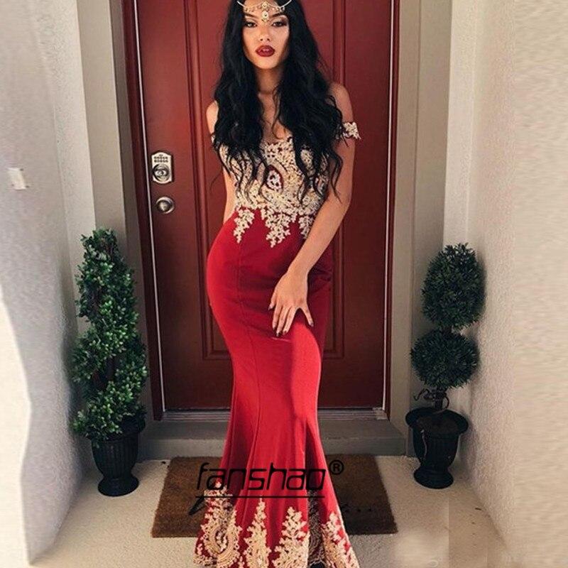 Vintage Evening Dresses Gold Lace Mermaid Plus Off Shoulder Burgundy Dubai Saudi Arabic Evening Gown Boho Prom Dress