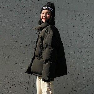 Image 4 - Winter mode frauen parkas unten baumwolle gepolsterte jacke warme dicke lose oversize soild wadded jacken weibliche casual brot mäntel