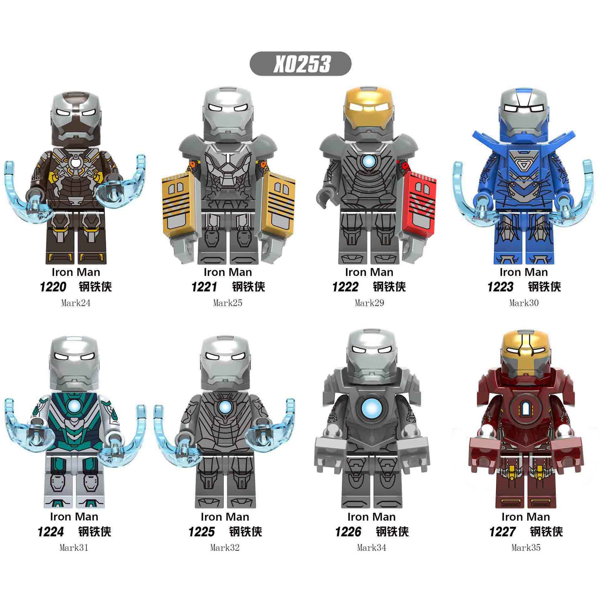 X0253 Marvel LegoING compatible AvengersING iron ManING series mark Suit MK24 MK25 MK29 MK30 Assemble Building Blocks Human form