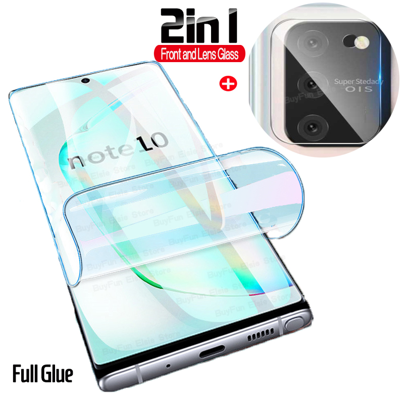 2in1 Hydrogel Film For Samsung Galaxy <font><b>S10</b></font> Lite <font><b>Sticker</b></font> Hydrogel Screen Protector Galaxy S 10 Note 10 Lite Light Film Not Glass image
