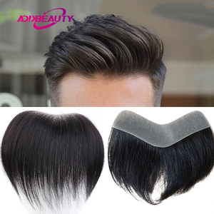 Men Toupee 100% Human Hair Piece V Loop Front Toupee for Men Thin Skin PU Men Wigs 6inch Remy Hair Replacement Natural Color