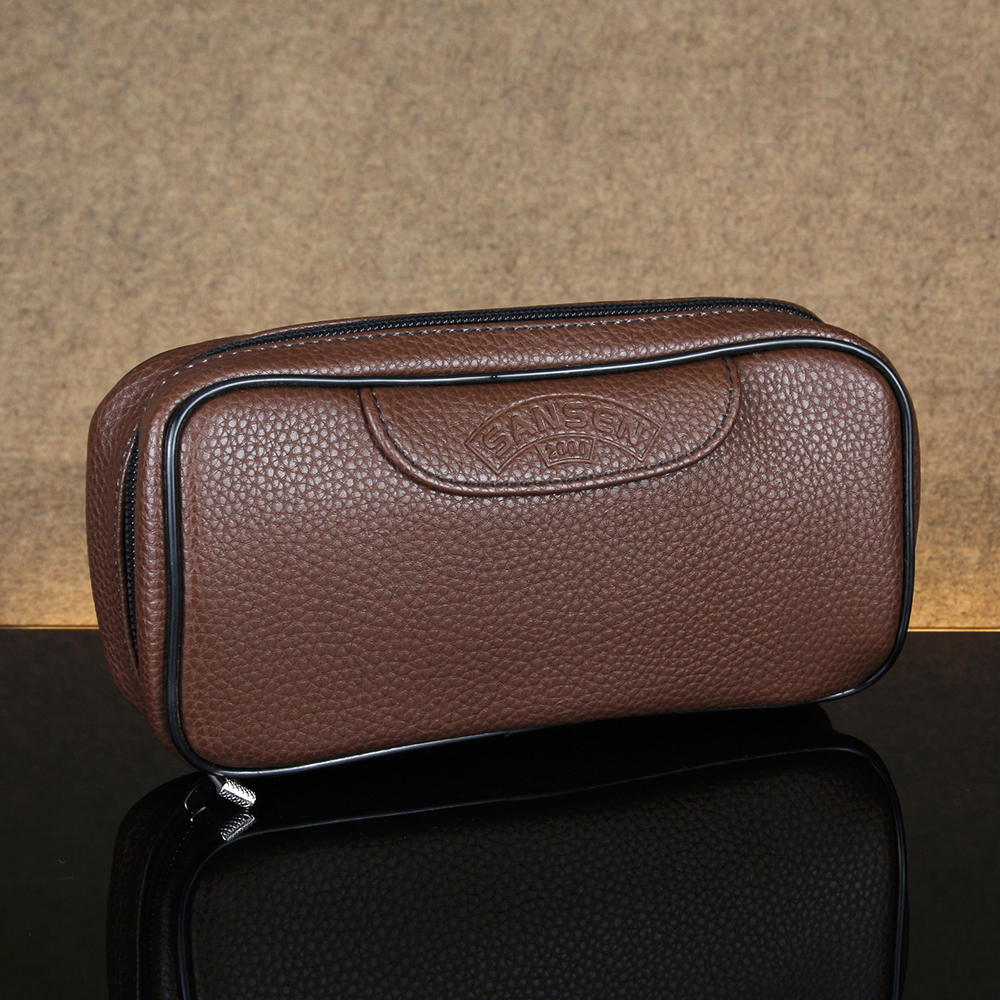 Brown Lichee Pattern Leather Bag For 2 Pipes Classic Smoking Pouch Tobacco Pipe Case Tobacco Bag Smoking Pipe Bag