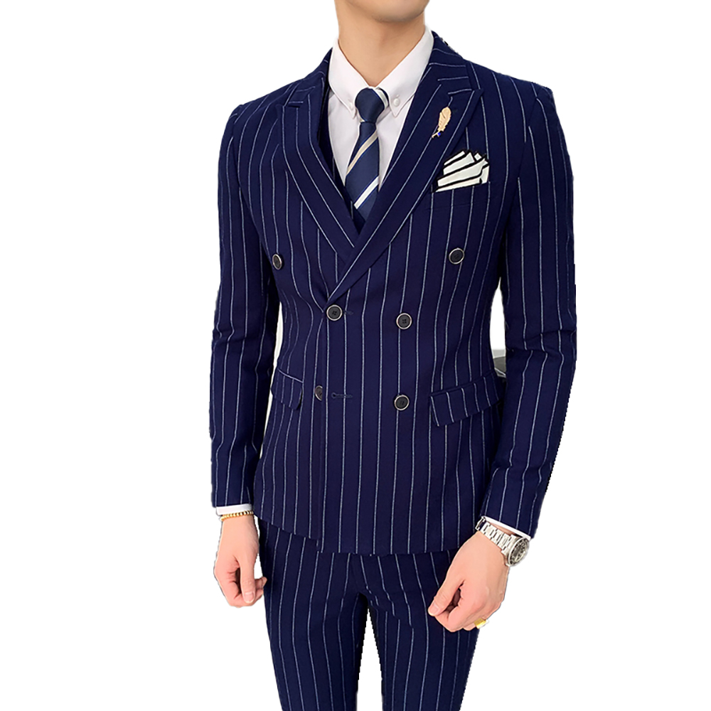 ( Jacket + Vest + Pants ) High-end Brand Formal Striped Men's Business Suit 3-piece Set Groom Wedding Dress Double Breasted Suit