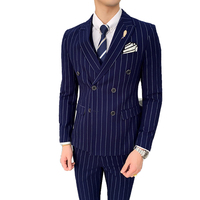 ( Jacket + Vest + Pants ) High end Brand Formal Striped Men's Business Suit 3 piece Set Groom Wedding Dress Double Breasted Suit