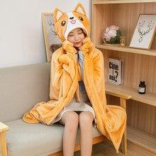 Cão bonito coelho dinossauro coala porco cabo preguiçoso cobertor dos desenhos animados shiba inu flanela cobertor cosplay manto cobertores de ar menina presente da criança