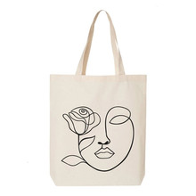 Mental Health Matters Shopping Canvas Tote Bag Women One Line Face Art Grocery Market Shoulder Bags
