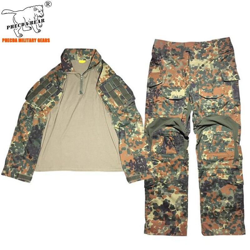 Almanya flecktarn kamuflaj Gen3 taktik savaş üniforma airsoft BDU savaş elbise üniforma yaz askeri eğitim üniforma erkekler