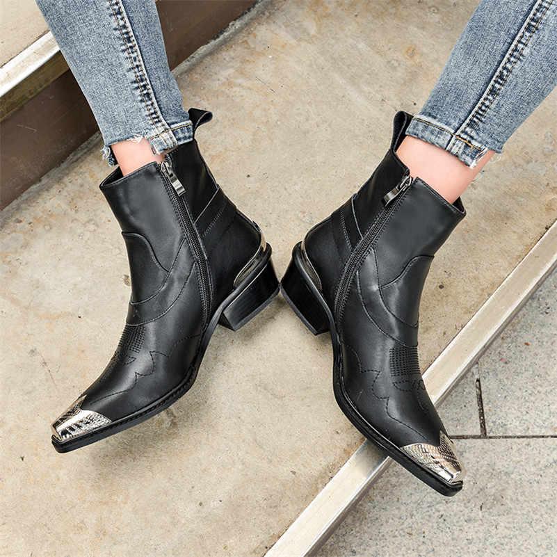 FEDONAS מותג סתיו חורף חם מערבי מגפי מסיבת לילה מועדון נעלי אישה אמיתי עור נשים קרסול מגפי פאנק גבוהה עקבים