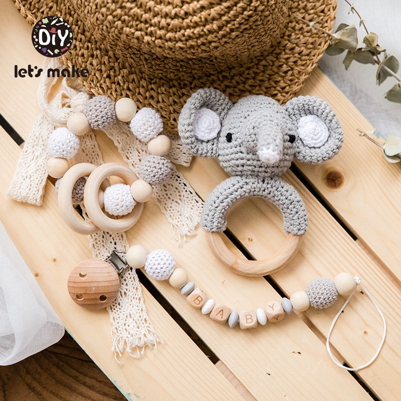 Let's Make Baby Rattles Set Crochet Animal Elk Amigurumi Elephant Baby Teether Wooden Pacifier ChainBPA Free Nursing Rattle Toys