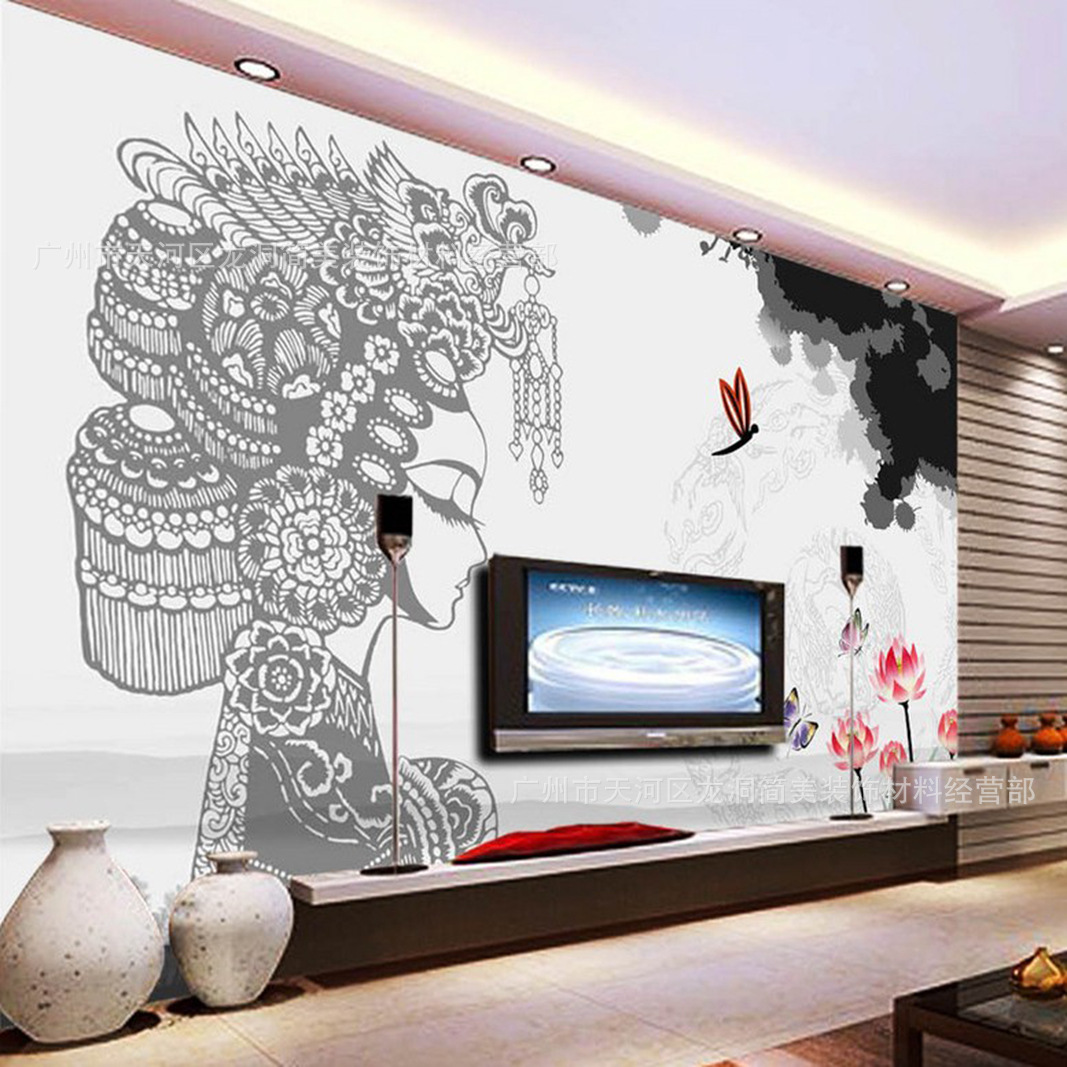 Chinese Style Decoration Mural Peony Pavilion Peking Opera Ink Chinese-style Wallpaper Living Room Bedroom TV Background Wallpap