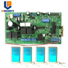 Lpsegurança placa de controle oscilante, 12v dc, com 4 peças controle remoto para dc, braço oscilante duplo linear, porta eletrônica motor do motor