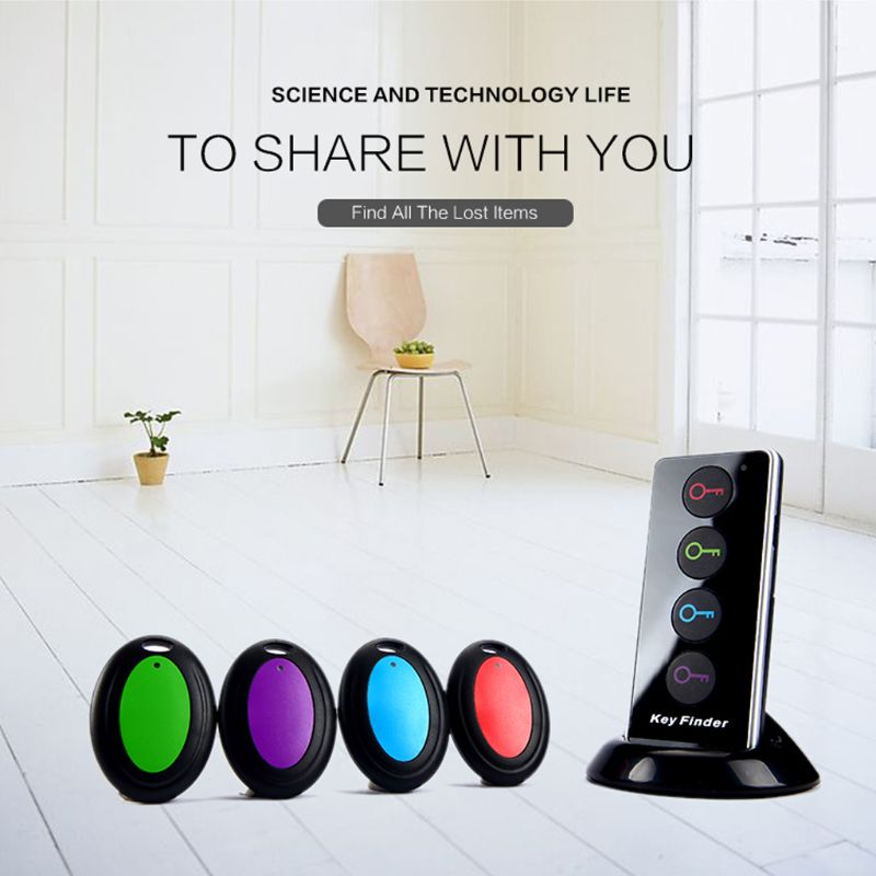 4 In 1 Advanced Wireless Key Finder Remote Key Locator Phone Wallets Anti-Lost With Torch Function 4 Receivers And 1 Dock E65A