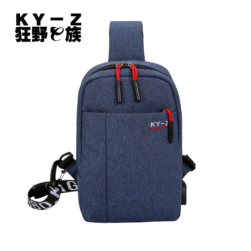 2019 New Style Nylon Men's Bag Casual Men Chest Pack USB Charging Shoulder Bag Solid Color Cotton Linen Breathable Small Bag