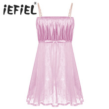 Sissy Lingerie Dress Nightwear Straps Mesh Sheer See-Through Satin Smooth Bodice Lace
