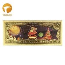 24K позолоченные банкноты 1 шт Санта Клаус Счастливого Рождества Позолоченные 2 доллара золота поддельные деньги рождественские украшения