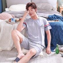 Men's Pajamas Set Summer Short-sleeve Cotton Nightwear Grey