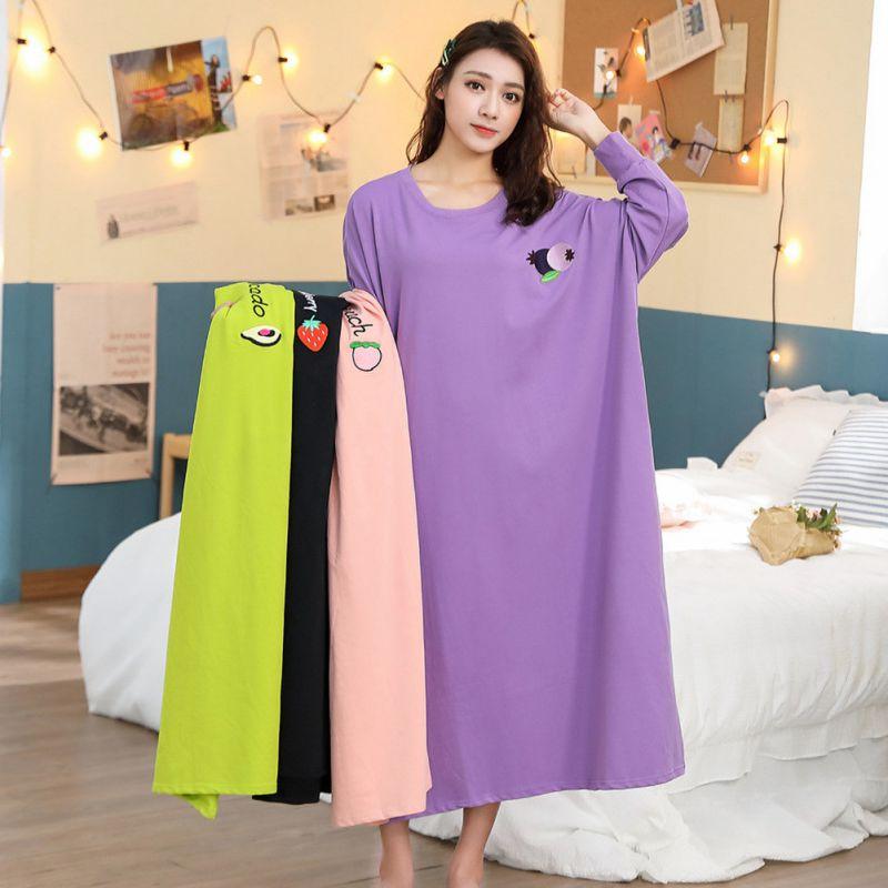 Wholesale Women Cute Sleepwear Ladies Cotton Round Neck Long Sleeve Nightdress Lingerie Cartoon Print Home Clothing