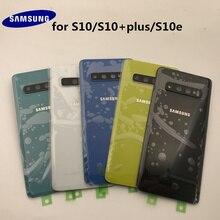 Original Samsung Galaxy S10 + Plus G970 G975 S10e G973กระจกด้านหลังแบตเตอรี่ด้านหลังกรณีที่อยู่อาศัย + กาวสติกเกอร์