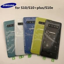 Orijinal Samsung Galaxy S10 + artı G970 G975 S10e G973 arka cam pil kapağı kapı arka konut Case değiştirme + yapıştırıcı sticker