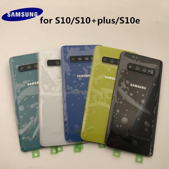 الأصلي سامسونج غالاكسي S10 + زائد G970 G975 S10e G973 عودة زجاج غطاء البطارية الباب الخلفي الإسكان استبدال الغلاف لاصق