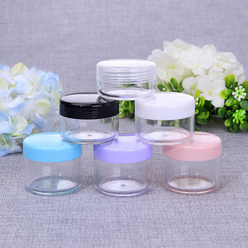 10g 15g 20g Cosmetics Jar Box Makeup Cream Nail Art Cosmetic Bead Storage Pot Container Round Bottle Plastic Transparent Case image