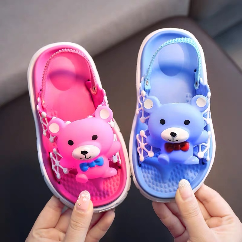 2020 New Summer Children's Sandals And Slippers Cartoon Cute Slippers 1-4 Years Old Baby Elastic With Sandals