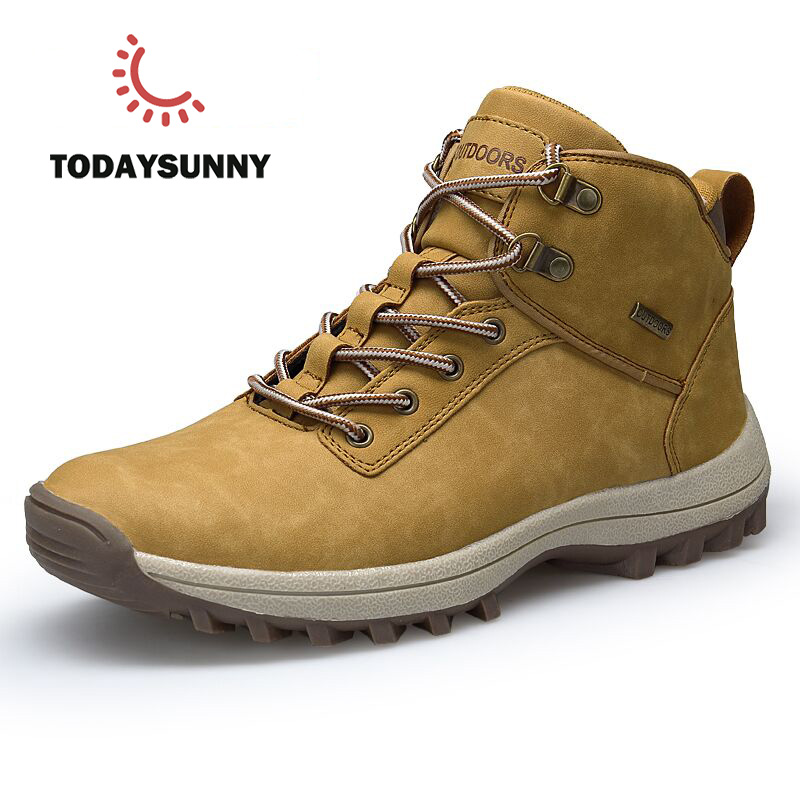 Men Boots Big Size 39-46 Autumn Winter Mens Leather Fashion Sneakers Lace Up Outdoor Mountain Men Shoes Waterproof Safty Shoes